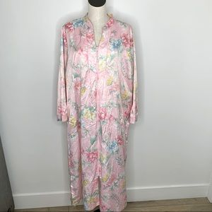 Miss Elaine Woman floral robe nightgown 1X pink